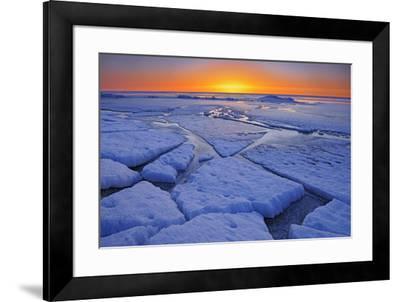 Canada, Manitoba, Winnipeg. Sunrise on Lake Winnipeg spring ice.-Jaynes Gallery-Framed Photographic Print