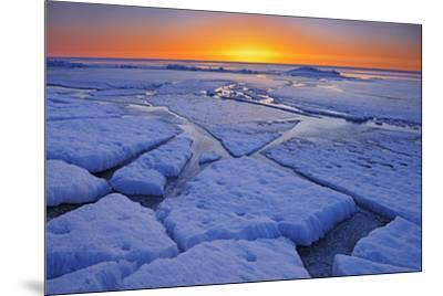 Canada, Manitoba, Winnipeg. Sunrise on Lake Winnipeg spring ice.-Jaynes Gallery-Mounted Photographic Print
