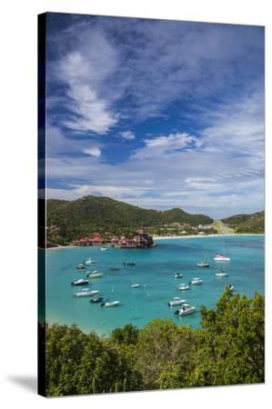 French West Indies, St-Barthelemy. Baie de Saint Jean-Walter Bibikow-Stretched Canvas Print