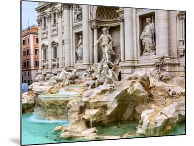 Neptune, nymphs, seahorse statues. Trevi Fountain, Rome, Italy. Nicola Salvi created the fountain a-William Perry-Mounted Photographic Print