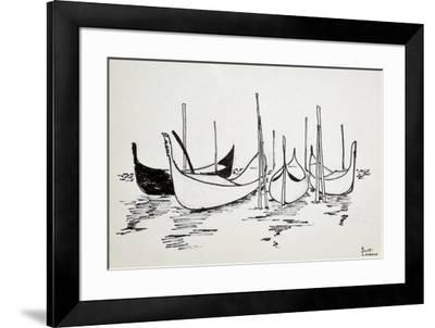 Gondolas in Venice, Italy are a symbol of this city of water.-Richard Lawrence-Framed Photographic Print