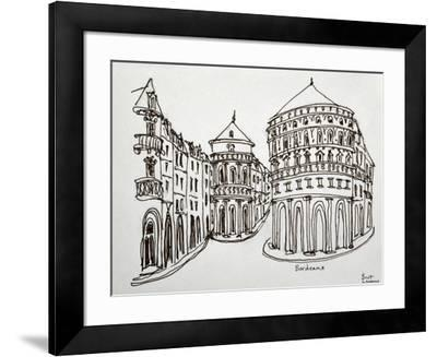 Bordeaux street scene in the old downtown area.-Richard Lawrence-Framed Photographic Print