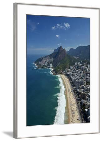 Ipanema Beach, Morro Dois Irmaos, and Vidigal Favela (top), Rio de Janeiro, Brazil-David Wall-Framed Photographic Print