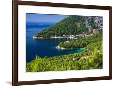 The village of Trstenik on the Peljesac Peninsula above the Adriatic Sea, Dalmatia, Croatia-Russ Bishop-Framed Photographic Print