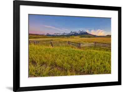 USA, Colorado. Meadow and fence landscape at sunset.-Jaynes Gallery-Framed Photographic Print