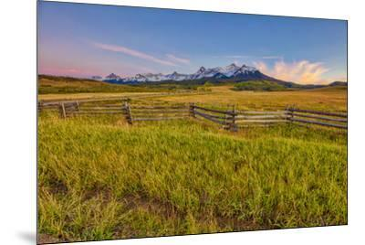 USA, Colorado. Meadow and fence landscape at sunset.-Jaynes Gallery-Mounted Photographic Print