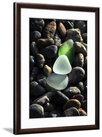 USA, California, La Jolla. Sea glass on cobblestone beach.-Jaynes Gallery-Framed Photographic Print
