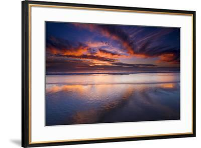 Sunset over the Channel Islands from Ventura State Beach, Ventura, California, USA-Russ Bishop-Framed Photographic Print