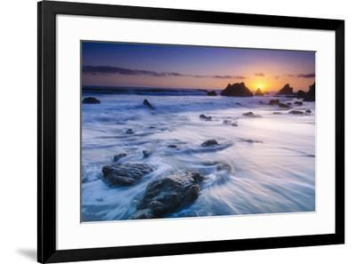 Sea stacks at sunset, El Matador State Beach, Malibu, California, USA-Russ Bishop-Framed Photographic Print