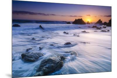 Sea stacks at sunset, El Matador State Beach, Malibu, California, USA-Russ Bishop-Mounted Photographic Print