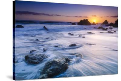 Sea stacks at sunset, El Matador State Beach, Malibu, California, USA-Russ Bishop-Stretched Canvas Print