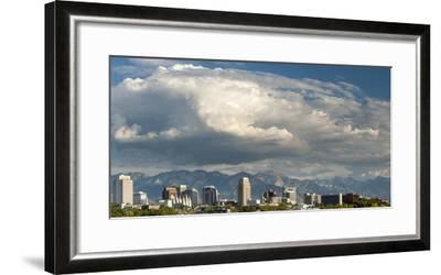 Salt Lake City below the Wasatch Mountain Range, Utah.-Howie Garber-Framed Photographic Print