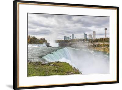 USA, New York, Niagara Falls, view from American Falls to Niagara Falls, Ontario, Canada-Walter Bibikow-Framed Photographic Print