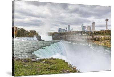 USA, New York, Niagara Falls, view from American Falls to Niagara Falls, Ontario, Canada-Walter Bibikow-Stretched Canvas Print