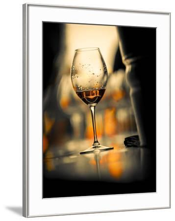USA, Washington State, Seattle. Wine glass reflecting light-Richard Duval-Framed Photographic Print