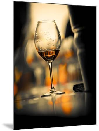 USA, Washington State, Seattle. Wine glass reflecting light-Richard Duval-Mounted Photographic Print