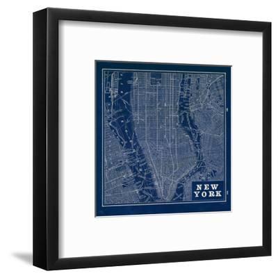 Blueprint Map New York Square-Sue Schlabach-Framed Art Print