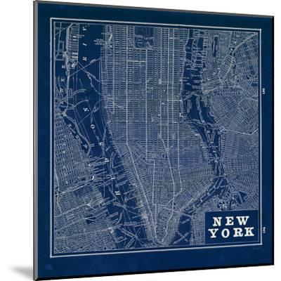 Blueprint Map New York Square-Sue Schlabach-Mounted Art Print