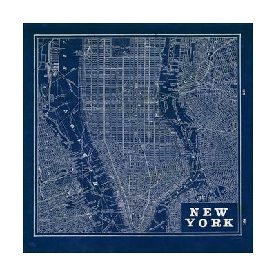 Blueprint Map New York Square-Sue Schlabach-Framed Premium Giclee Print
