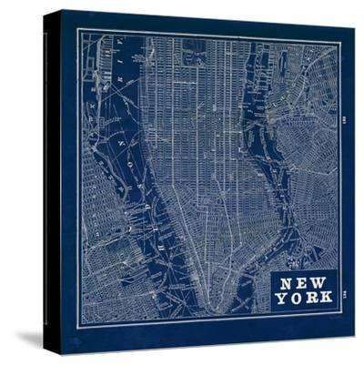 Blueprint Map New York Square-Sue Schlabach-Stretched Canvas Print