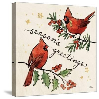 Christmas Lovebirds X-Janelle Penner-Stretched Canvas Print