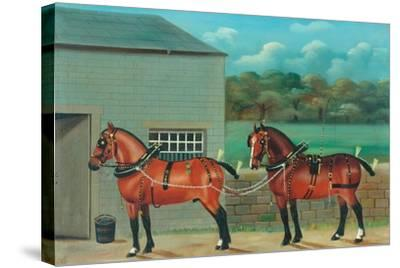 Two Horses in Harness, c.1910--Stretched Canvas Print