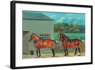 Two Horses in Harness, c.1910--Framed Giclee Print