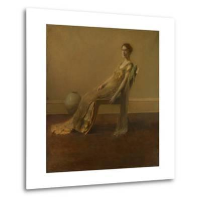 GREEN AND Gold, by Thomas Wilmer Dewing, 1917, American Painting, Oil on Canvas. A Slouching Elegan--Metal Print