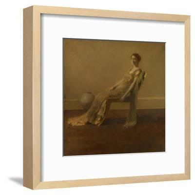 GREEN AND Gold, by Thomas Wilmer Dewing, 1917, American Painting, Oil on Canvas. A Slouching Elegan--Framed Art Print