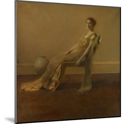 GREEN AND Gold, by Thomas Wilmer Dewing, 1917, American Painting, Oil on Canvas. A Slouching Elegan--Mounted Art Print