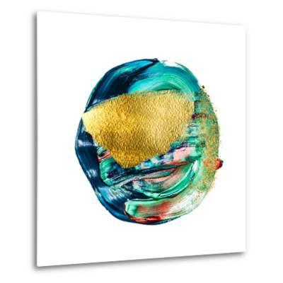 Art and Gold. Multi-Coloured Spot, Acrylic Paint, Modern Art, Hand Drawn Painting, Contemporary Art-CARACOLLA-Metal Print