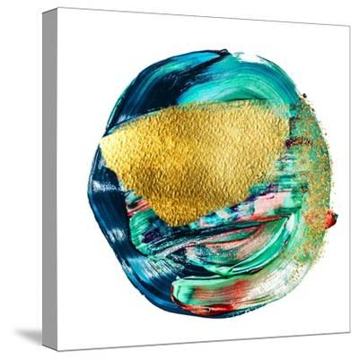 Art and Gold. Multi-Coloured Spot, Acrylic Paint, Modern Art, Hand Drawn Painting, Contemporary Art-CARACOLLA-Stretched Canvas Print