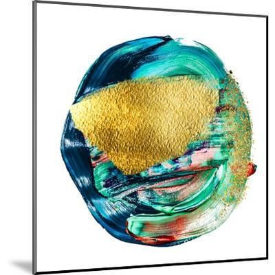 Art and Gold. Multi-Coloured Spot, Acrylic Paint, Modern Art, Hand Drawn Painting, Contemporary Art-CARACOLLA-Mounted Art Print
