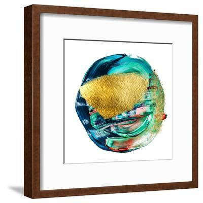 Art and Gold. Multi-Coloured Spot, Acrylic Paint, Modern Art, Hand Drawn Painting, Contemporary Art-CARACOLLA-Framed Art Print