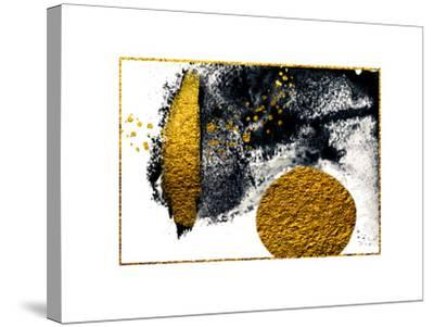 Art&Gold. Painting. Natural Luxury. Black Paint Stroke Texture on White Paper. Abstract Hand Painte-CARACOLLA-Stretched Canvas Print