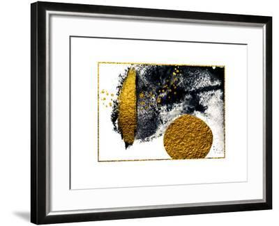 Art&Gold. Painting. Natural Luxury. Black Paint Stroke Texture on White Paper. Abstract Hand Painte-CARACOLLA-Framed Art Print