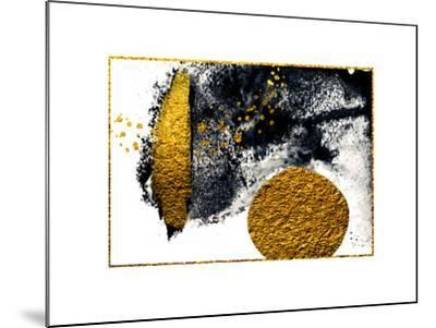 Art&Gold. Painting. Natural Luxury. Black Paint Stroke Texture on White Paper. Abstract Hand Painte-CARACOLLA-Mounted Art Print