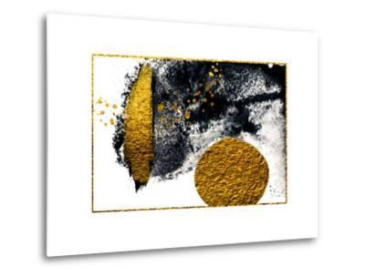 Art&Gold. Painting. Natural Luxury. Black Paint Stroke Texture on White Paper. Abstract Hand Painte-CARACOLLA-Metal Print