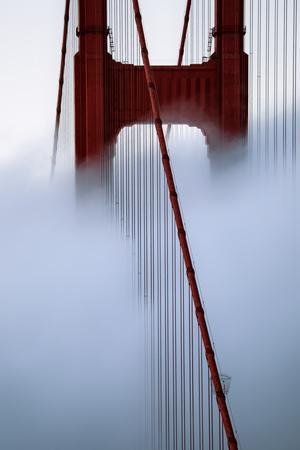 Moving Fog at Golden Gate Bridge, San Francisco California Travel-Vincent James-Photographic Print