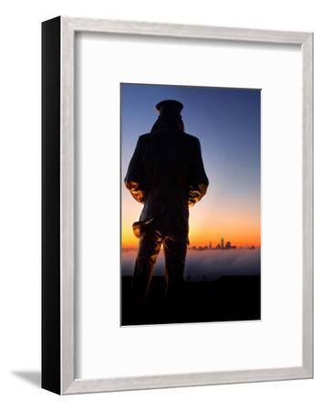 View of the Lone Sailor San Francisco Harbor Navy Fog Explore-Vincent James-Framed Photographic Print