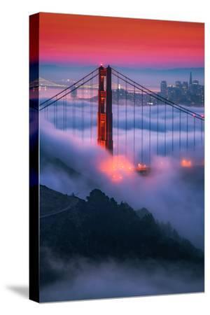 Moody Candy Morning Fog Golden Gate Bridge, San Francisco California Travel-Vincent James-Stretched Canvas Print