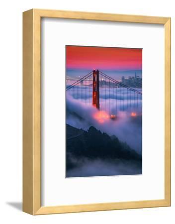 Moody Candy Morning Fog Golden Gate Bridge, San Francisco California Travel-Vincent James-Framed Photographic Print