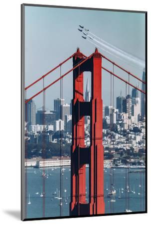 Blue Angels Fly at Golden Gate Bridge, San Francisco-Vincent James-Mounted Photographic Print