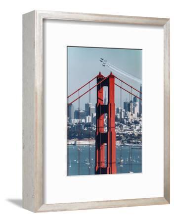 Blue Angels Fly at Golden Gate Bridge, San Francisco-Vincent James-Framed Photographic Print