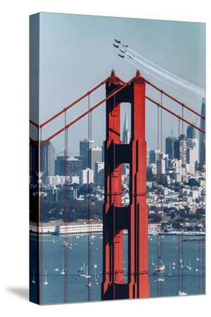 Blue Angels Fly at Golden Gate Bridge, San Francisco-Vincent James-Stretched Canvas Print