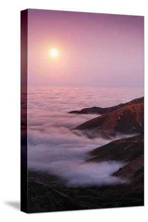 Out There Harvest Moon Light Glow & Pacfic Ocean Fog Marin Headlands-Vincent James-Stretched Canvas Print