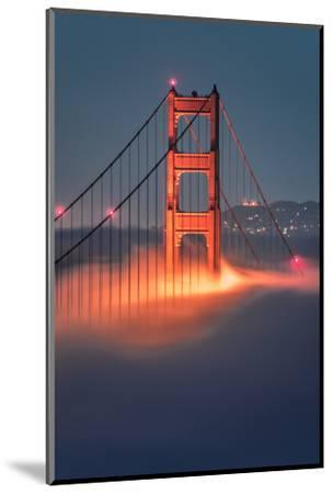 Tower Fog Night Lights Golden Gate Bridge, San Francisco California Travel-Vincent James-Mounted Photographic Print