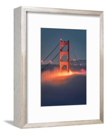 Tower Fog Night Lights Golden Gate Bridge, San Francisco California Travel-Vincent James-Framed Photographic Print
