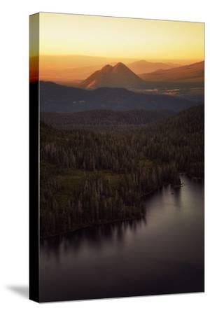Black Butte in Orange Light, Castle Lake Overlook Mount Shasta Northern California-Vincent James-Stretched Canvas Print