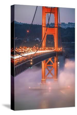 Golden Travels, Night Photography Golden Gate Bridge, San Francisco-Vincent James-Stretched Canvas Print